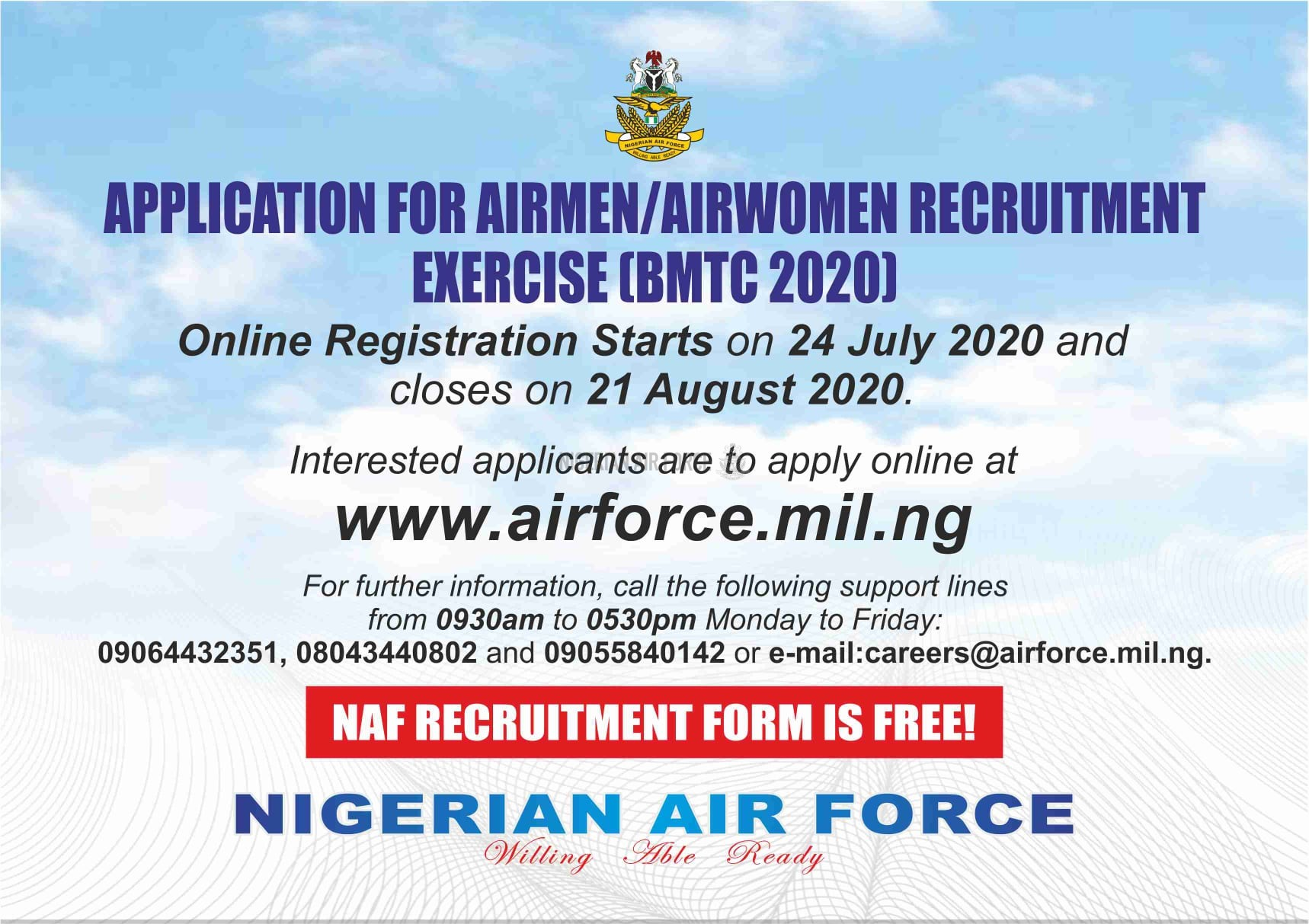 APPLICATION FOR AIRMEN, AIRWOMEN RECRUITMENT TO COMMENCE ONLINE ON  24 JULY 2020