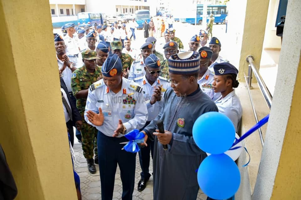PERSONNEL WELFARE: DEFENCE MINISTER COMMISSIONS NEWLY CONSTRUCTED BUILDINGS FOR NAF PERSONNEL IN ABUJA, PROMISES MORE SUPPORT