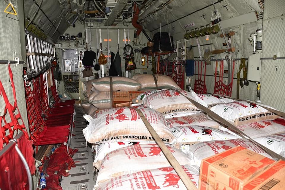 NAF COMMENCES AIRLIFT OF HUMANITARIAN RELIEF MATERIALS FOR IDPS IN BORNO STATE